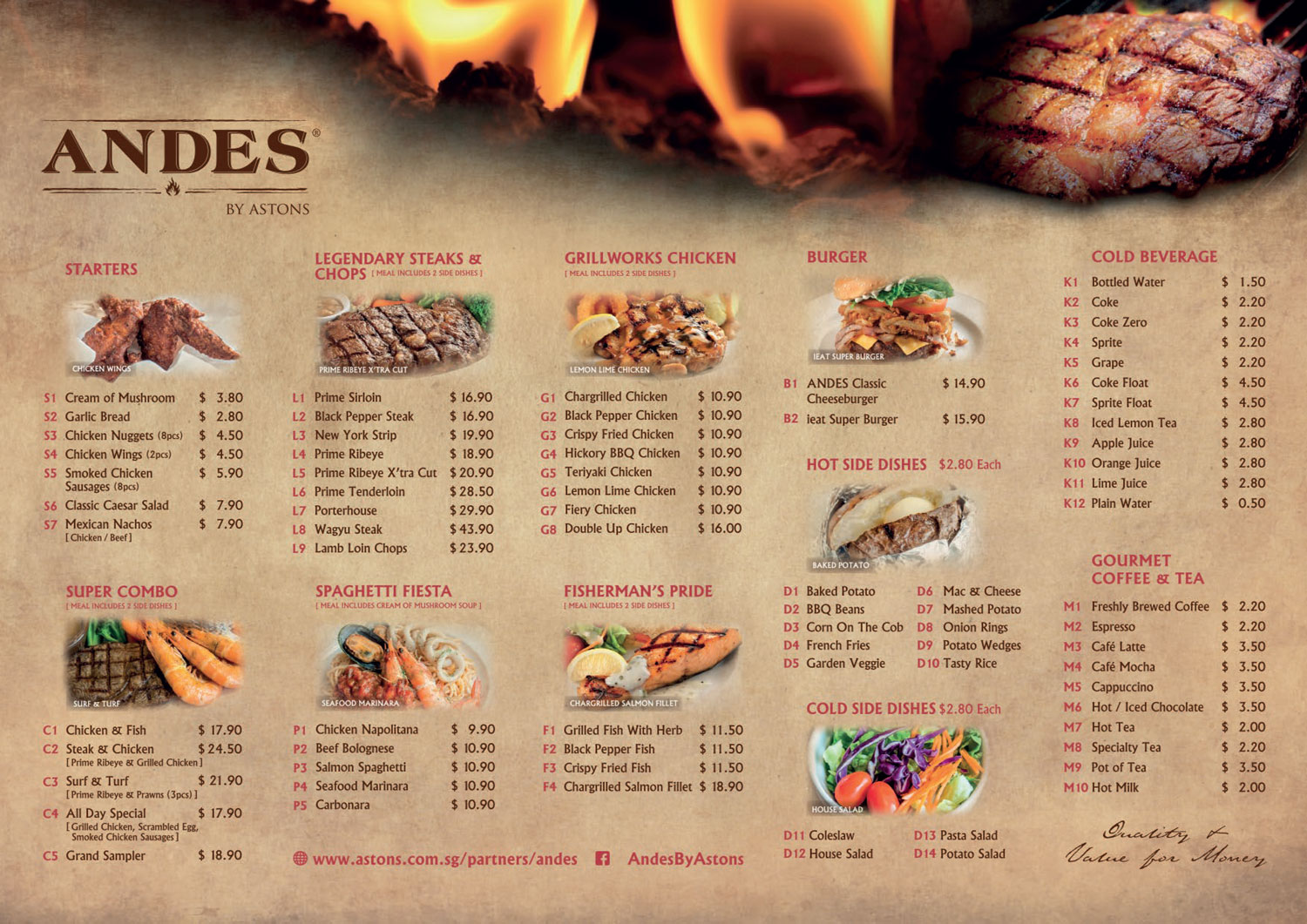 andes by astons menu