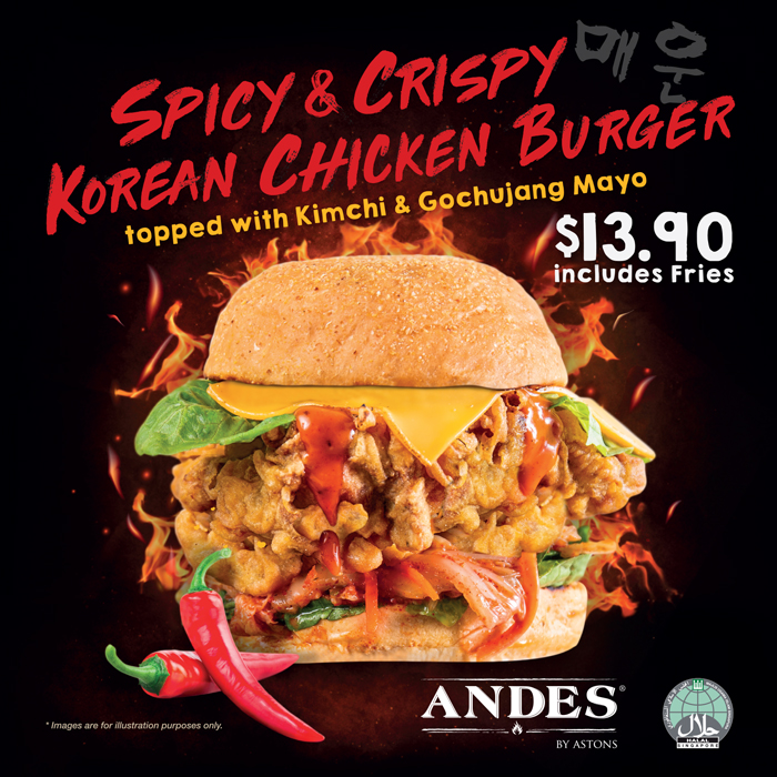 andes by astons - Spicy Korean Chicken Burger Mar