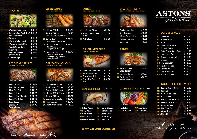 astons specialities menu Cross Street Exchange