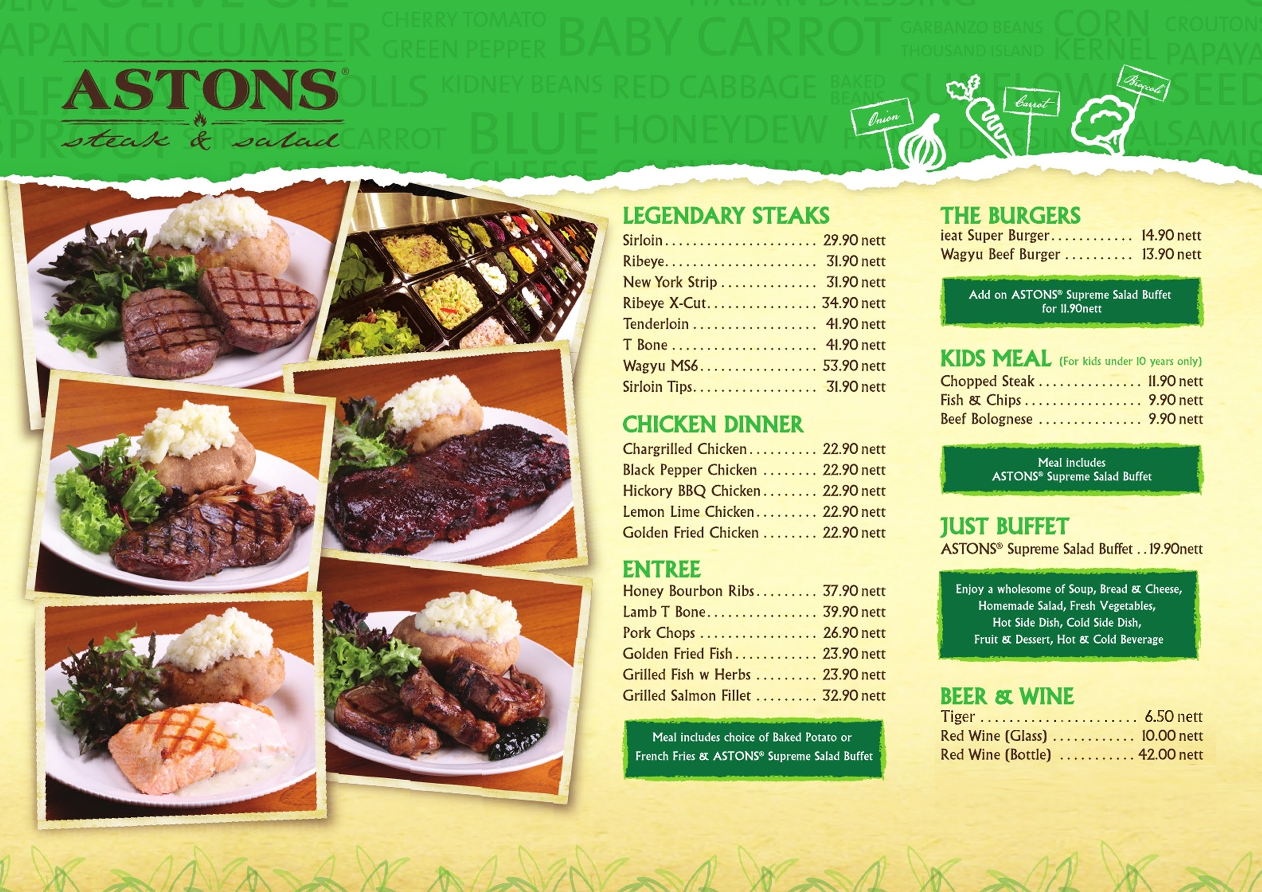 astons steak and salad menu