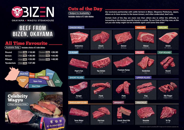 bizen okayama wagyu steakhouse menu